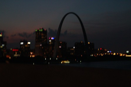 prepping for sunrise drone of downtown st louis