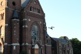 Inspire drone filming French documentary in saint Louis
