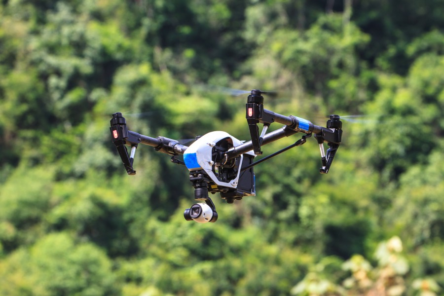 Inspire drone with camera on the sky